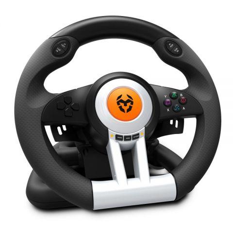 Krom Juego de Volante y pedales K Wheel Multip